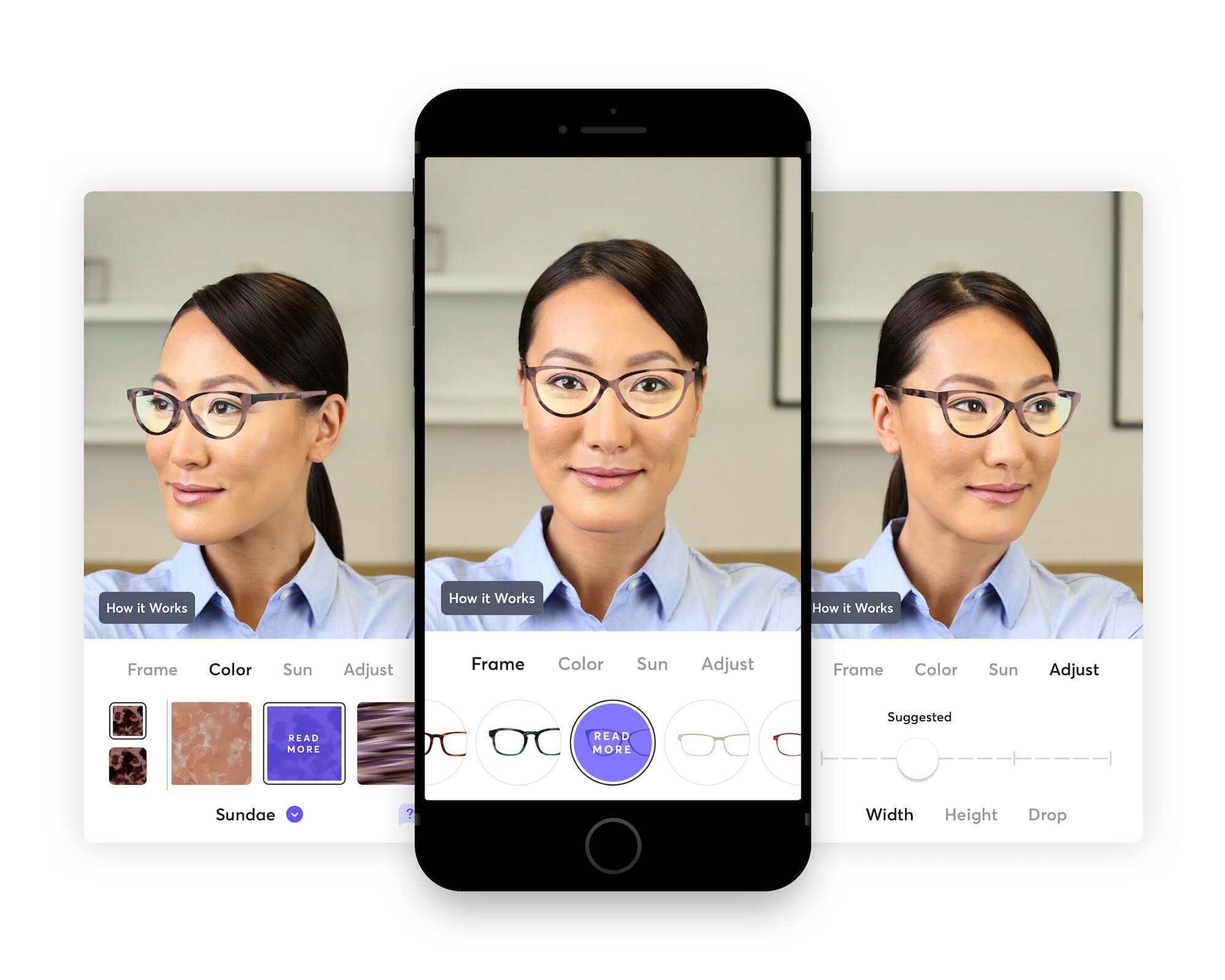 Bespoke eye glasses fitting in Topology iPhone app