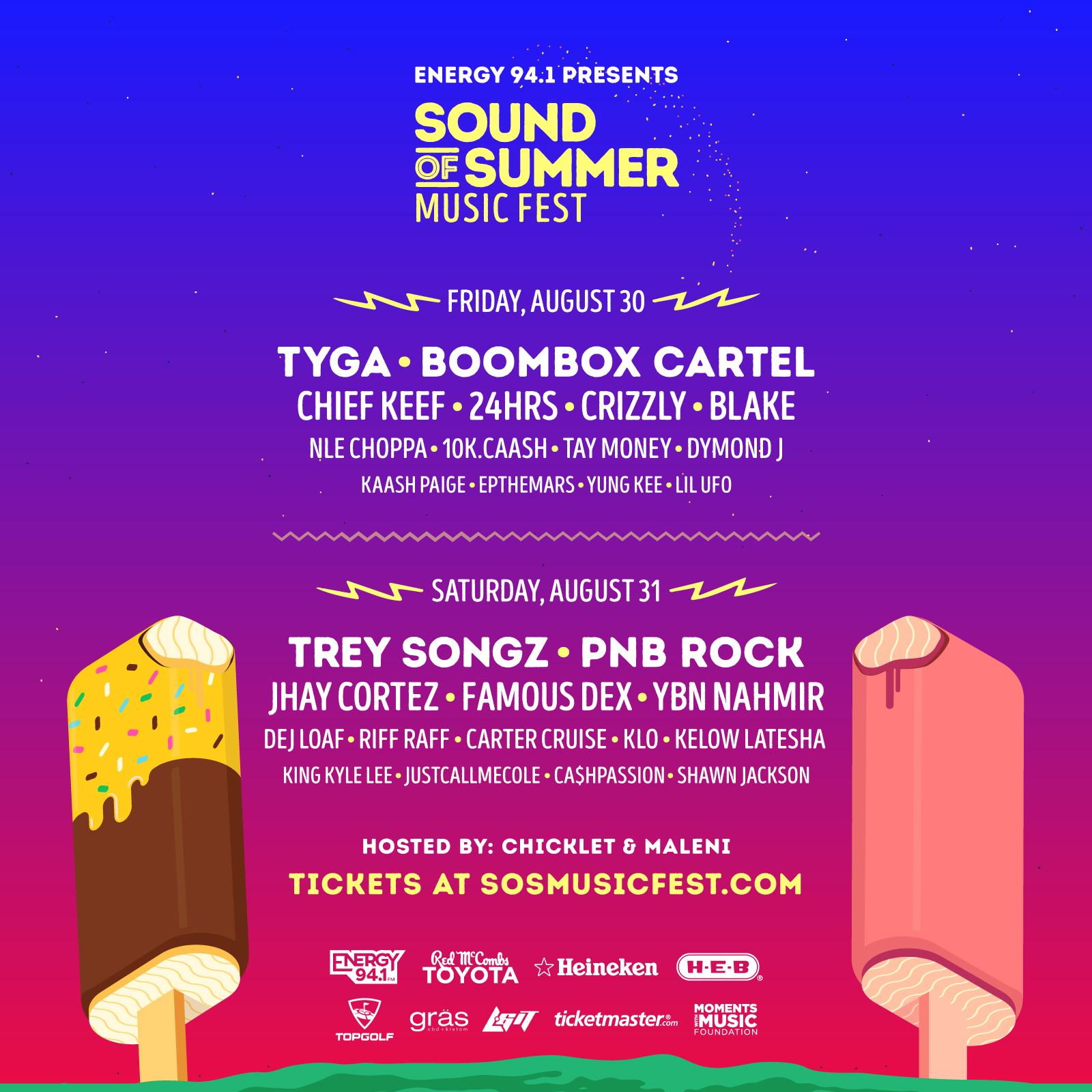 Sound of Summer Music Fest 2019 Lineup, presented by Energy 94.1