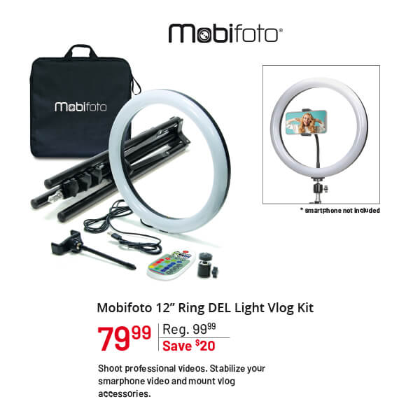 "Mobifoto 12"" Ring LED Light Vlog Kit"