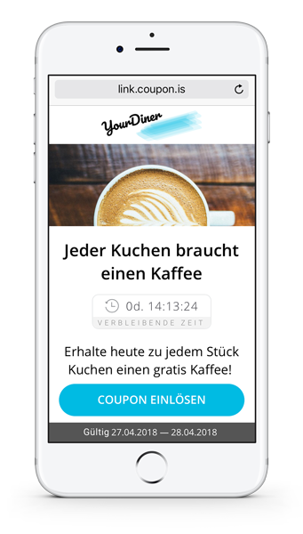 Digitaler Coupon auf dem Smartphone. Mobiler Gutschein für kostenlosen Kaffee.