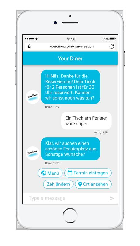 Beispielhafte Darstellung einer Konversation mit einem Bot auf dem Smartphone
