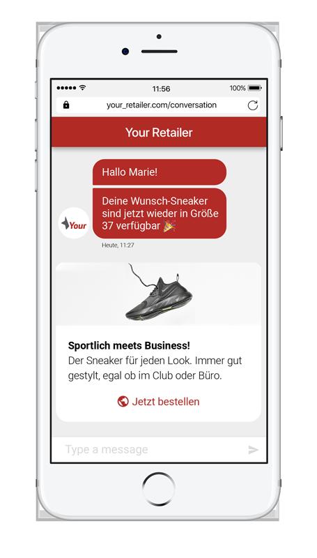 Chatbots mit LINK Flow können für automatisierte Benachrichtigungen zum Lagerbestand eingesetzt werden.
