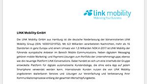 LINK Mobility Dokument zum Unternehmensprofil