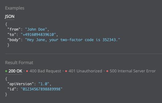 Code Snippet aus der Messaging API von LINK Mobility