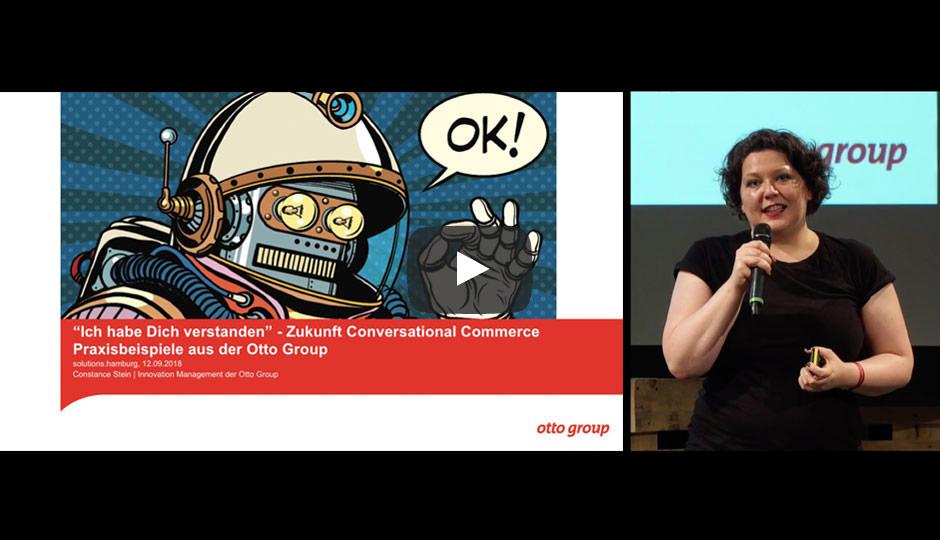 Vortrag Constance Stein auf der Solutions Hamburg zu Chatbots bei Otto