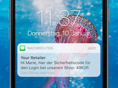 SMS Preview auf dem Smartphone-Screen. SMS als zweiter Faktor bei einer Multi-Faktor-Authentisierung.