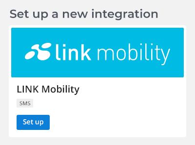 Auswahl des SMS Providers LINK Mobility innerhalb des CRM-Tools von CrossEngage