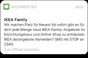SMS von Ikea Family mit Hinweis auf Angebote