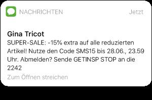 SMS-Nachricht mit Rabatt-Code von Gina Tricot