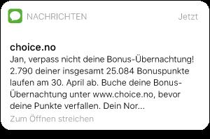 SMS von Nordic Choice Hotels mit Info über gesammelte Bonuspunkte