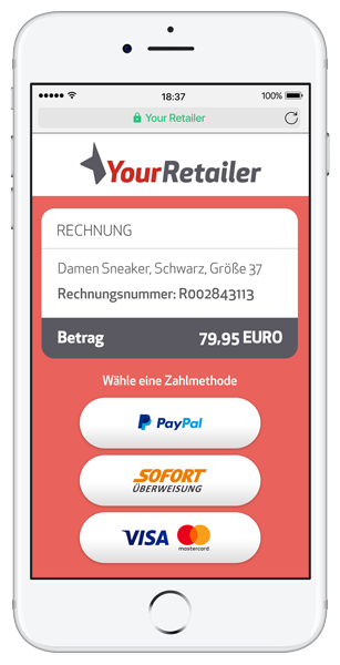 Smartphone mit Zahlungsaufforderung. Rechnung direkt am Handy bezahlen.