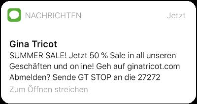 SMS-Text von Gina Tricot - Summer-Sale-Ankündigung per SMS