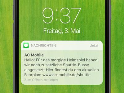 SMS auf Smartphone. Event-Infos und Status-Updates per SMS an Besucher schicken.