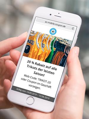 Gutschein auf Smartphone. Mobile Coupons im eigenen Look & Feel versenden.