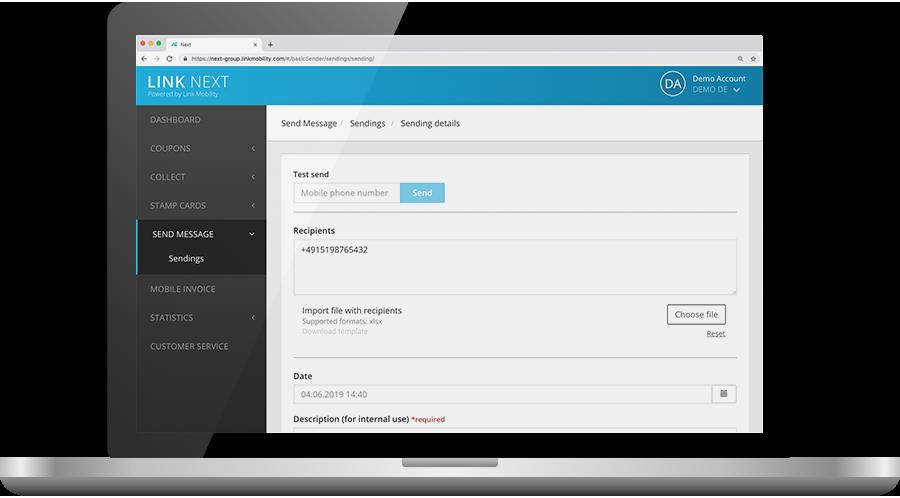 LINK Mobility NEXT Portal SMS Gateway zum Versand einzelner SMS und Massensendungen