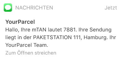 SMS-Beispiel: Zustellbenachrichtigung eines Pakets an eine Packstation