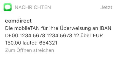 mTAN für Banküberweisung per SMS