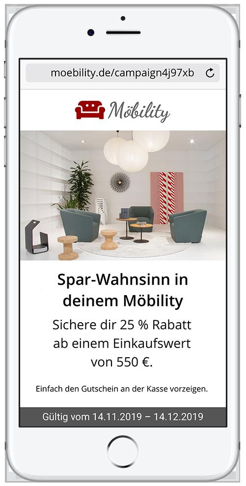 Smartphone mit mobilem Gutschein in eigenem Branding und Design. Mit mobile Rabatten Verkäufe anstoßen.