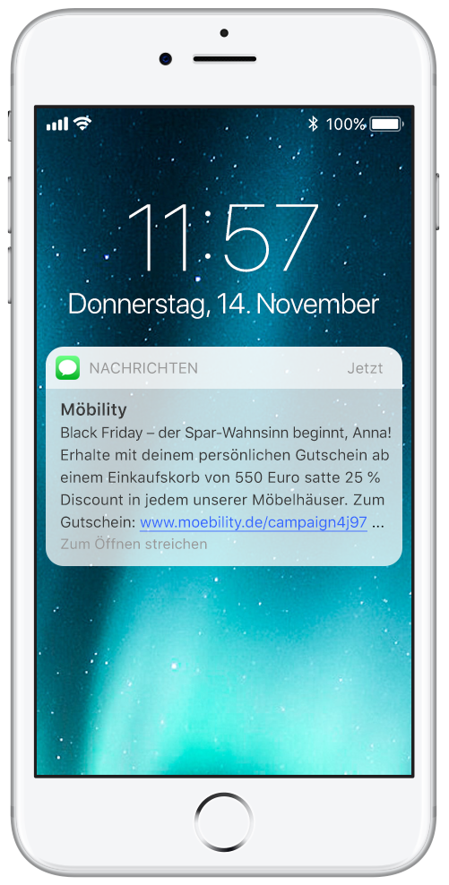 Smartphone mit SMS-Gutschein. Rabatte direkt auf dem Smartphone erhalten.