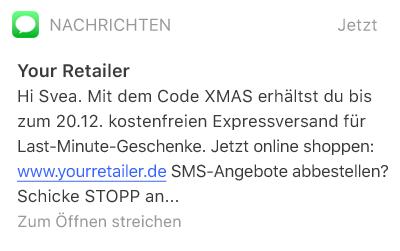 SMS mit einem Rabattcode für Weihnachten. Mehr Aufmerksamkeit für Sales und Angebote mit SMS-Kampagnen.