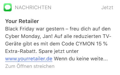 SMS-Nachricht mit Rabatt-Code für den Cyber Monday