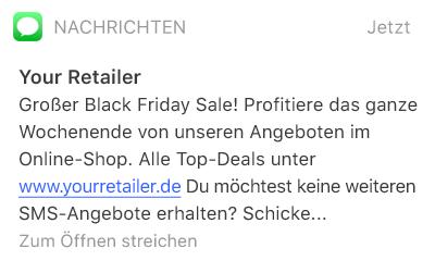 SMS mit einem Hinweis auf Sale-Angebote rund um Black Friday