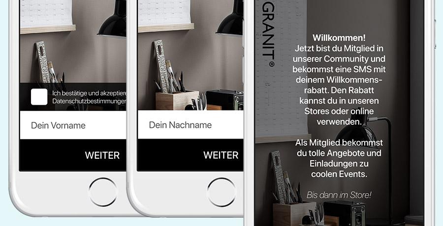 Kundenclub-Registrierung per SMS - das Beispiel der Firma Granit
