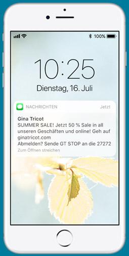 SMS auf Smartphone. SMS-Promotion für Sale-Aktionen.