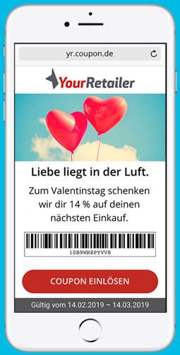 Digitaler Gutschein auf Smartphone. Mobile Coupon mit Barcode auf dem Handy.
