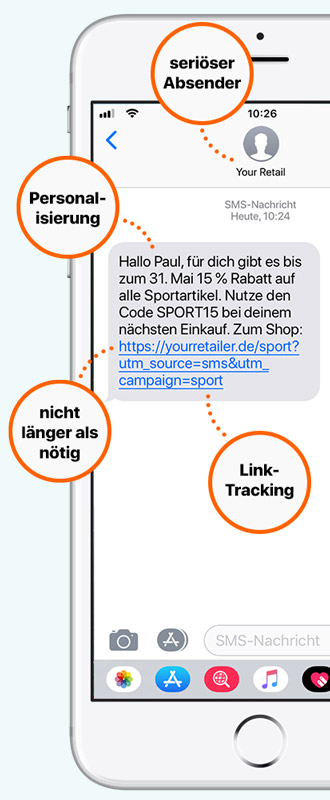 Tipps für erfolgreiches SMS-Marketing: seriöse Absender, Tracking-Links, persönliche Ansprache. Für eCommerce und stationären Handel.