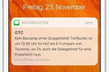 SMS für das Green Tourism Camp mit Informationen zum Treffpunkt und weiteren Hinweisen