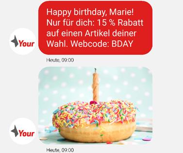 Gutscheincodes zum Geburtstag direkt über den Chatbot versenden