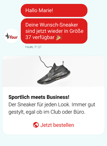 Chatverlauf - Verkäufe über dem Chatbot anstoßen