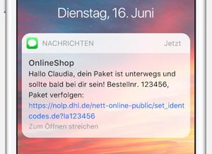 SMS Vorschau: Benachrichtigung zur Paketverfolgung