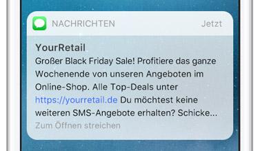 SMS in der Omnichannel Strategie: Vorschau einer SMS im Display zu einer Sale-Promotion