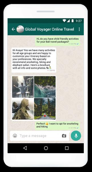 WhatsApp Business API, Nachricht mit Rich Media-Elementen aus der Tourismusbranche