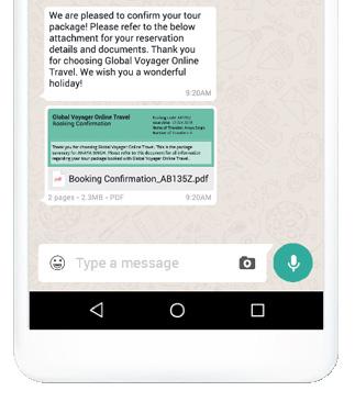 WhatsApp Business Solution, Nachricht aus der Tourismusbranche