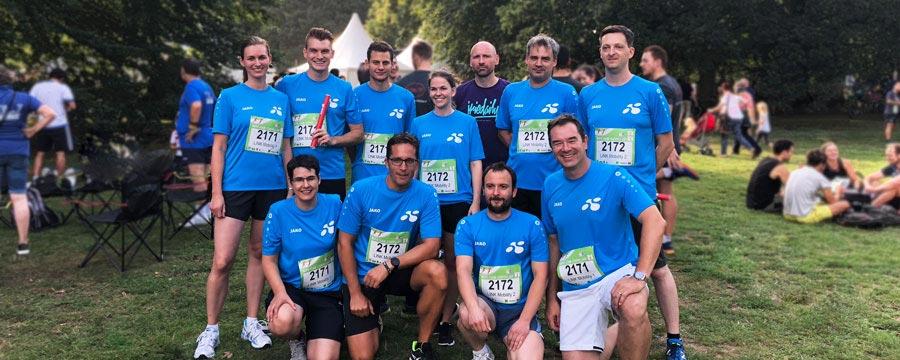 Einige unserer sportlichen Kollegen und Kolleginnen beim MoPo-Staffellauf 2018.