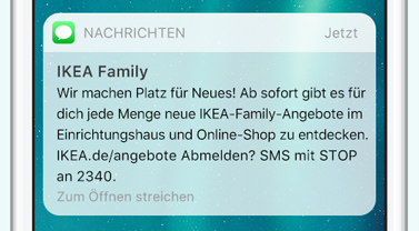 SMS Preview. SMS Marketing von Ikea über die SMS Marketing Software von LINK Mobility