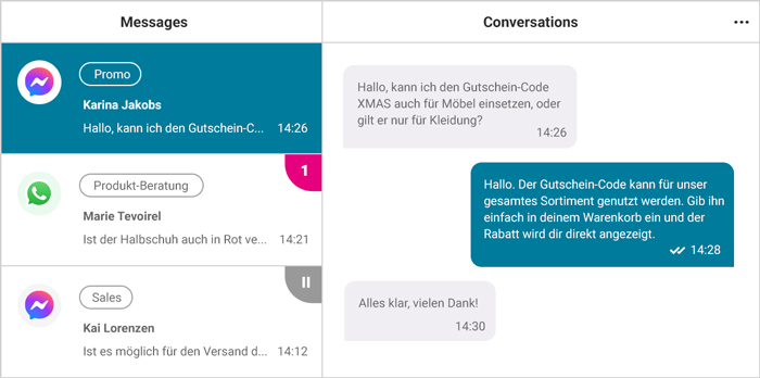Multichannel Live Chat Software für den Kundensupport - WhatsApp, Messenger, SMS, Webchat, Email