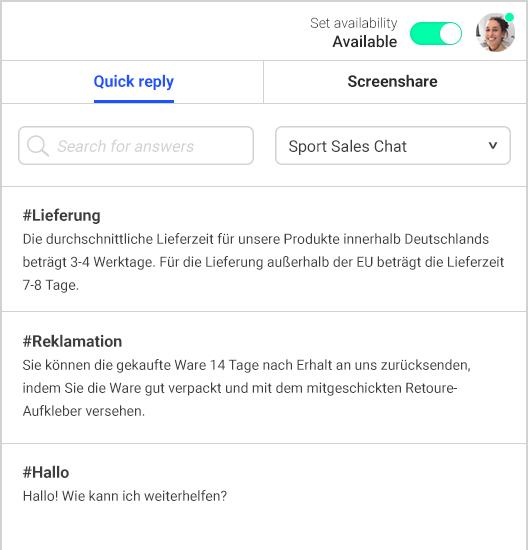 Live Chat Software mit vorgefertigten Textbausteinen, Screensharing und intelligentem Ampelsystem