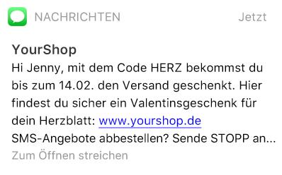 SMS-Nachricht mit Rabatt-Code für Valentinstag