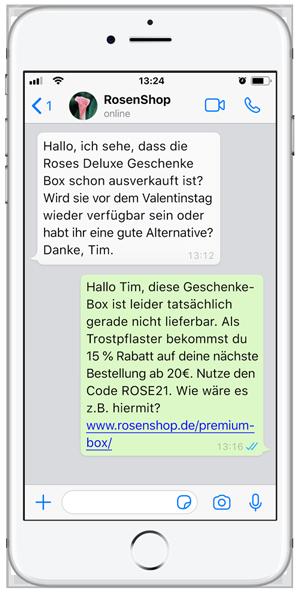 Kundendialog über WhatsApp zur Unterstützung von Shop-Besuchern am Valentinstag