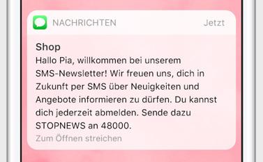 SMS als Newsletter zur Information über Angebote und Neuigkeiten