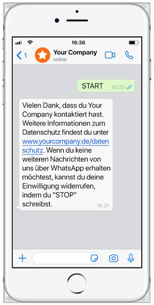 Beispiel einer WhatsApp Business Nachricht eines Unternehmens an einen Kunden - deutsche Sprache