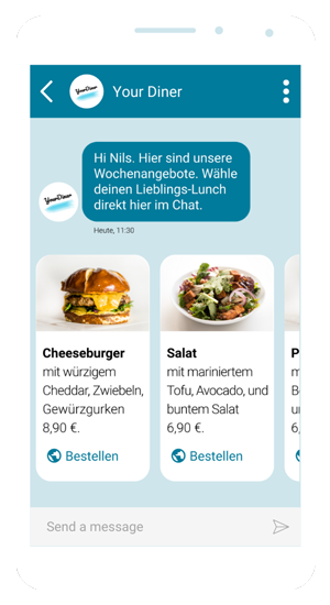 RCS-Chat mit Restaurant. Rich Cards zum direkten Bestellen aus dem Chat heraus.