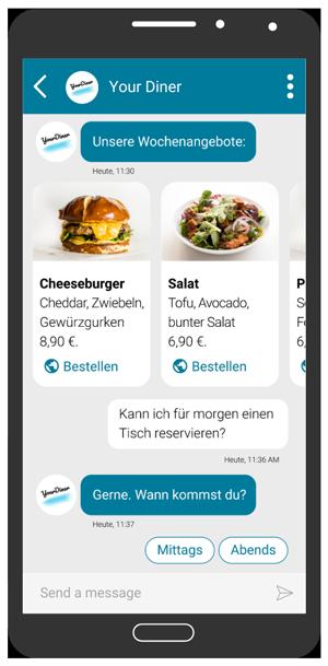 Smartphone mit RCS Dialog: Angebote und vordefinierte Antwortvorschläge.