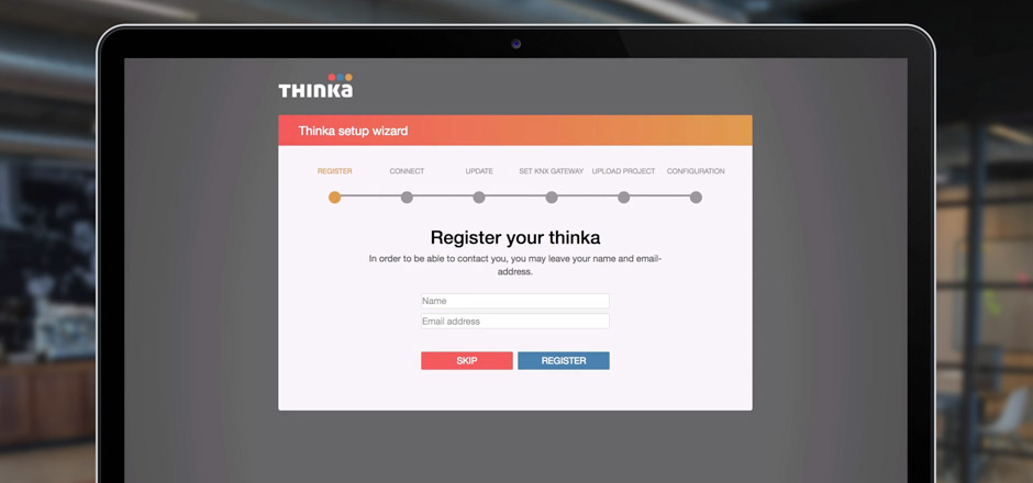 Register Thinka screen