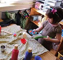 Preschooler crafting