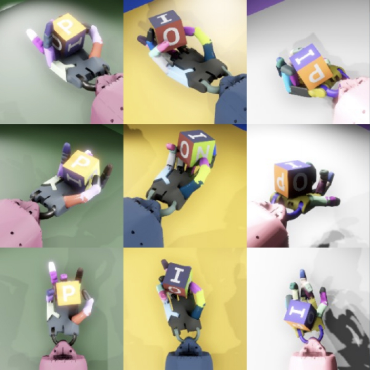 Robot hand manipulating cube with letters on each face